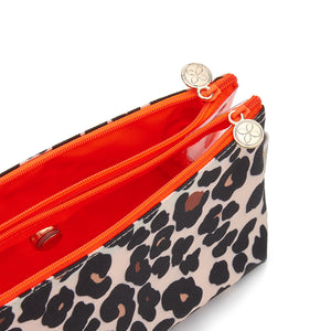 leopard print makeup bag with compartments interior
