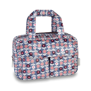travel wash bag with large handles and multiple compartments in lorton smoke print