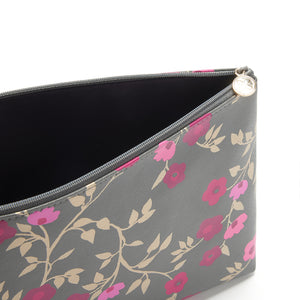 Large makeup bag with zip fastening in charcoal floral pattern