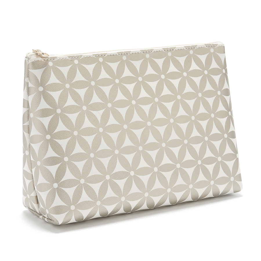 large makeup bag with pattern in gold