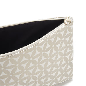 large makeup bag inside with pattern in gold