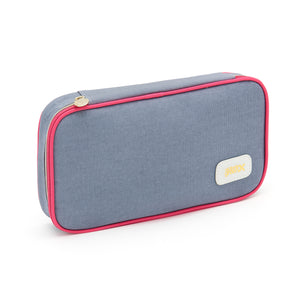 Beauty case in blue colour with pink trim and zip