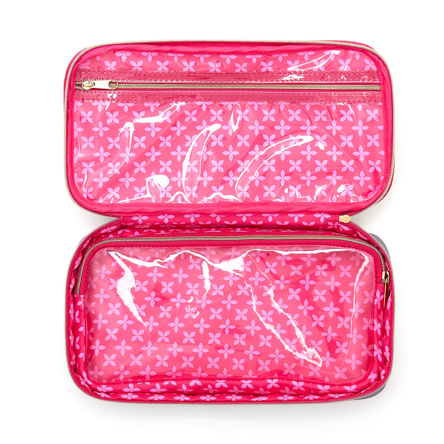 Inside of beauty case with transparent compartment and brush section