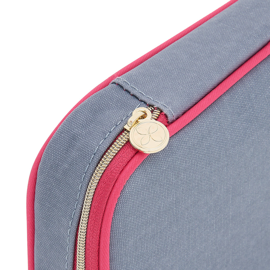 beauty case detail of secure zip fastening