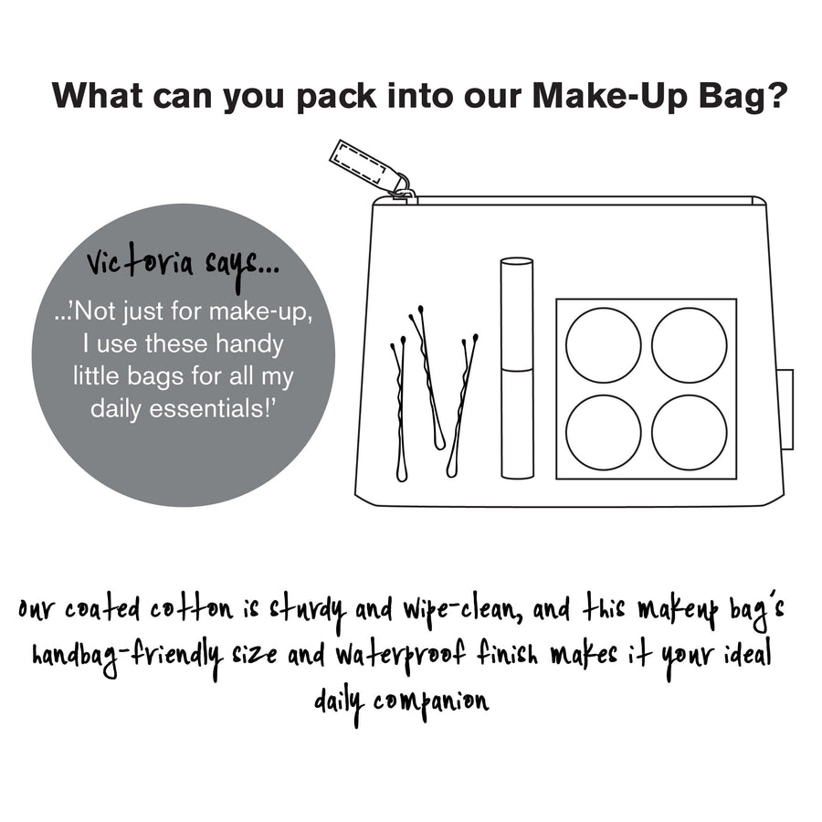 info graphic for makeup bag daisy sage