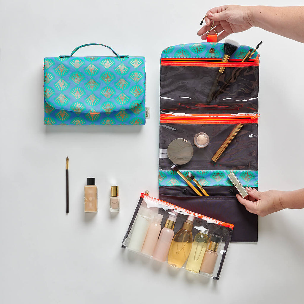hanging wash bag with clear compartments and detachable pouch