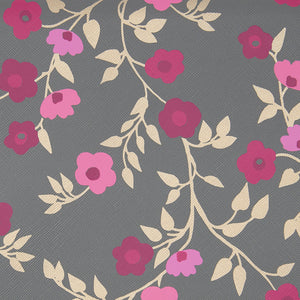 Charcoal floral blossom fabric for folding makeup bag