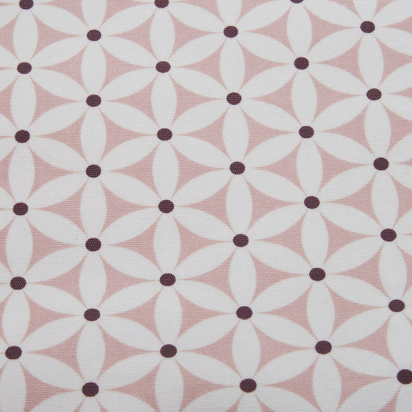detail of PVC wash bag fabric in pink starflower print pattern