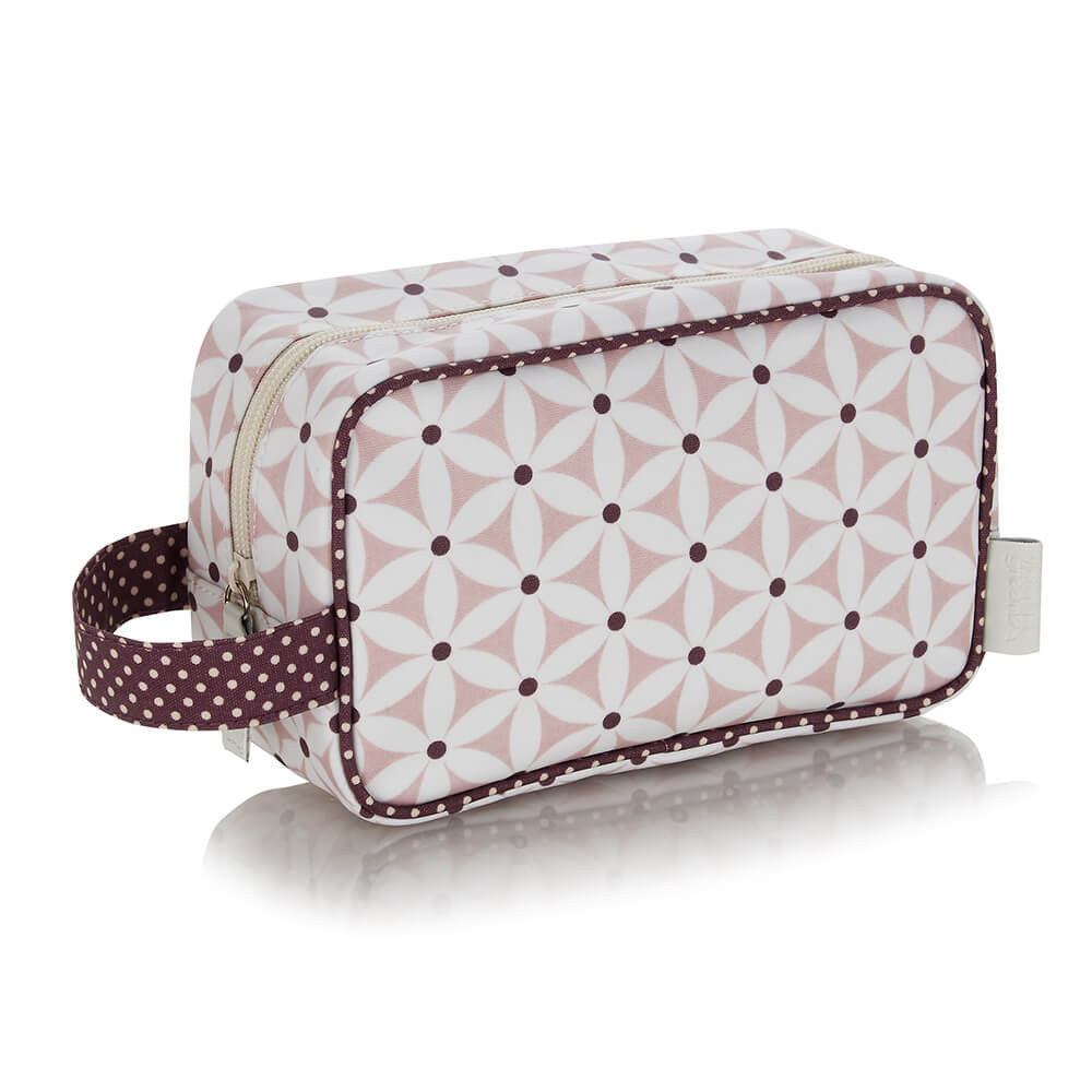 cosmetic bag with handle in pink starflower pattern