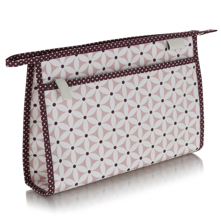 travel wash bag classic in pink starflower print