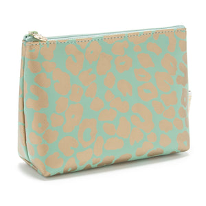 small makeup bag in leopard print green and gold