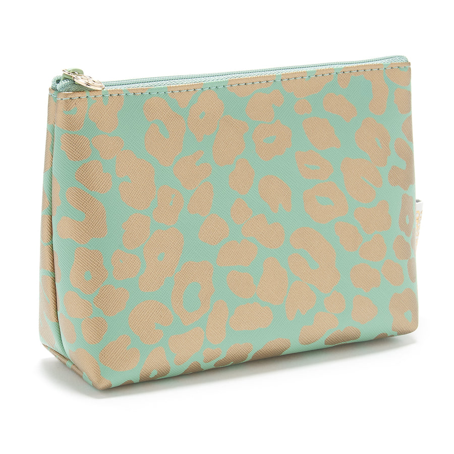 small makeup bag for handbag in leopard print green