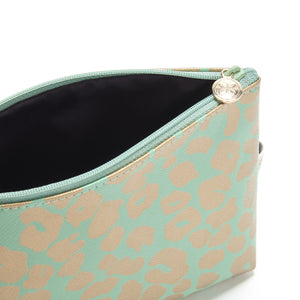 small makeup bag with zip in green gold leopard print