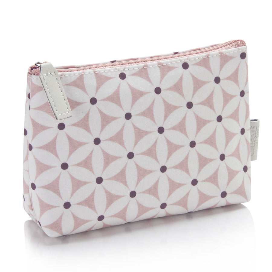 Makeup bags UK waterproof in starflower blush pattern with zip