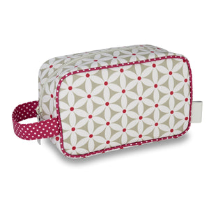Travel wash bag with handle in daisy sage