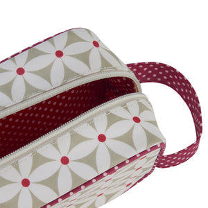 travel toiletry bag with red handle in daisy sage print interior