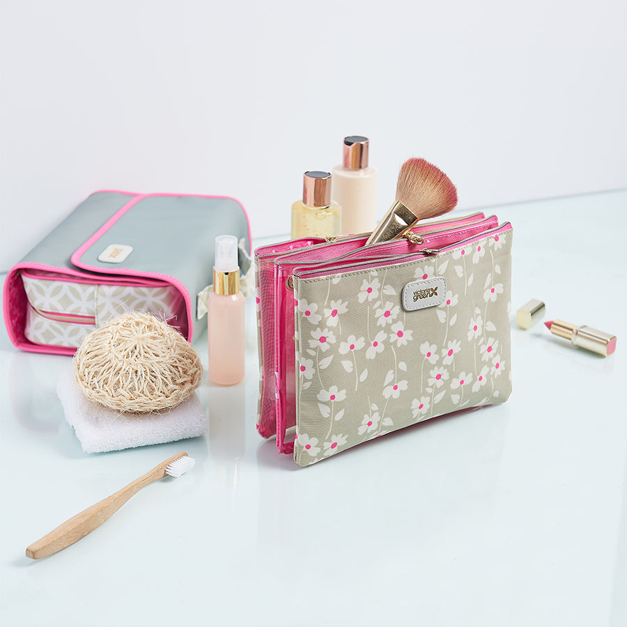 3 piece cosmetic bag fits full size makeup brushes