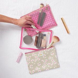 3 piece cosmetic bags separated to pack beauty products