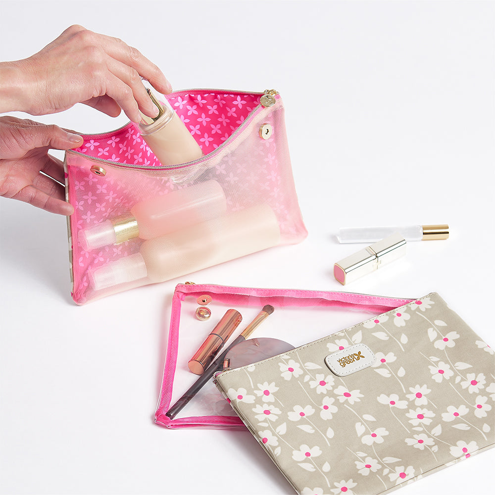 Cosmetic bag set with clear airport security bag