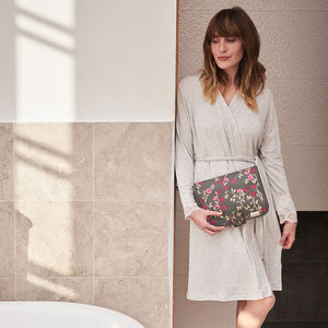 Kate hanging wash bag for travel in floral charcoal