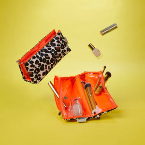 leopard print makeup bag with compartments for cosmetics