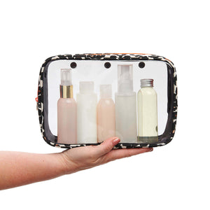 Detachable ladies hanging wash bag tan leopard from travel wash bag by Victoria Green