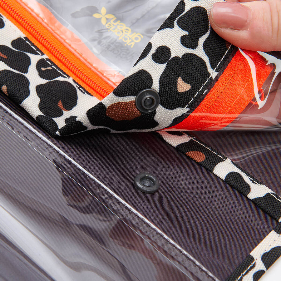 Removing airport liquids bags from travel wash bag tam leopard by Victoria Green