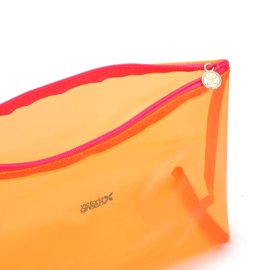 clear toiletry bag large orange with pink zip detail
