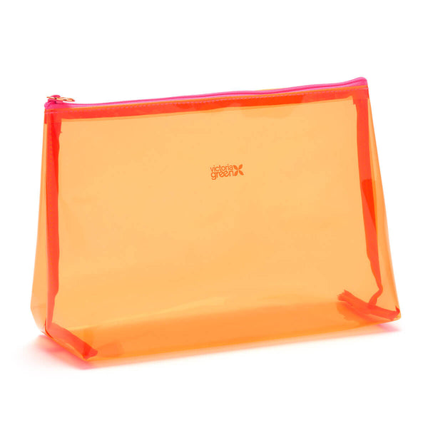 clear toiletry bag large orange