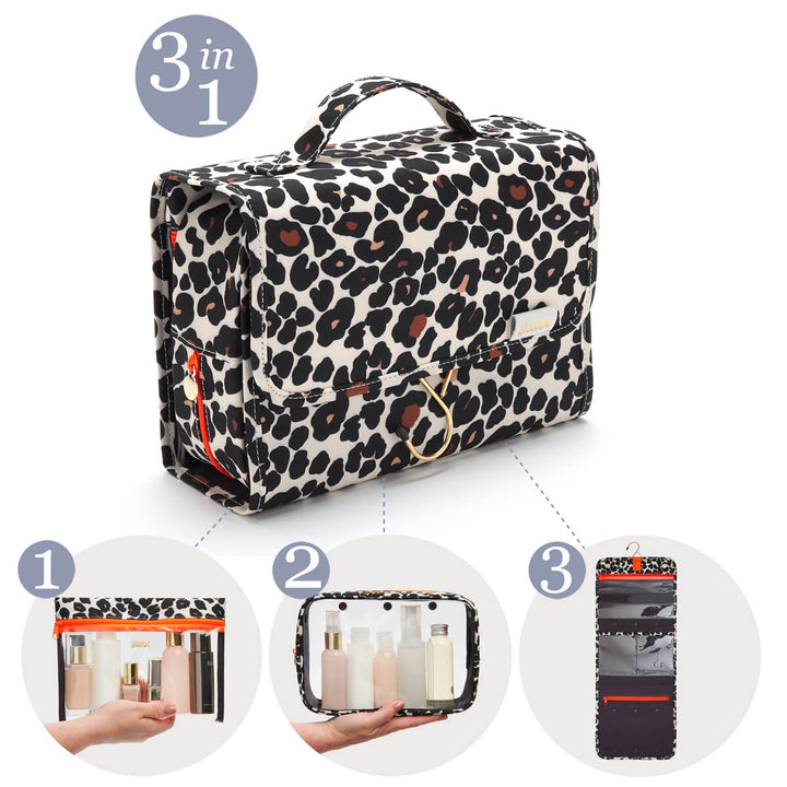 travel wash bag Emma unique 3 in 1 design leopard by Victoria Green