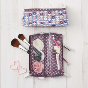 big foldover makeup bag interior in lorton print