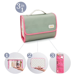 hanging wash bag with cosmetic bag sage 3 in 1 by Victoria Green