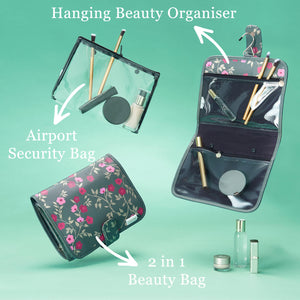 'Kate'  Hanging Beauty Bag in Blossom Charcoal