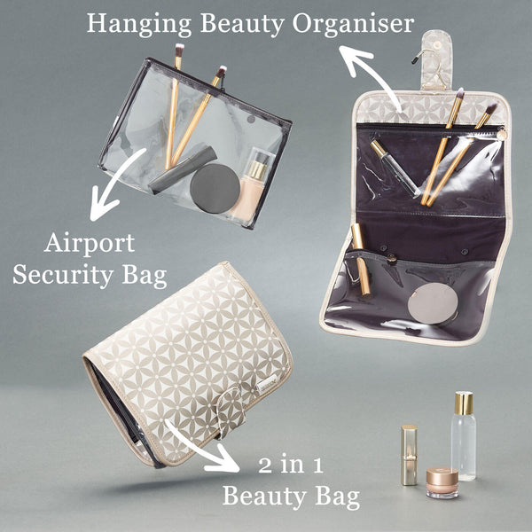 'Kate' Hanging Beauty Bag in Starflower Gold