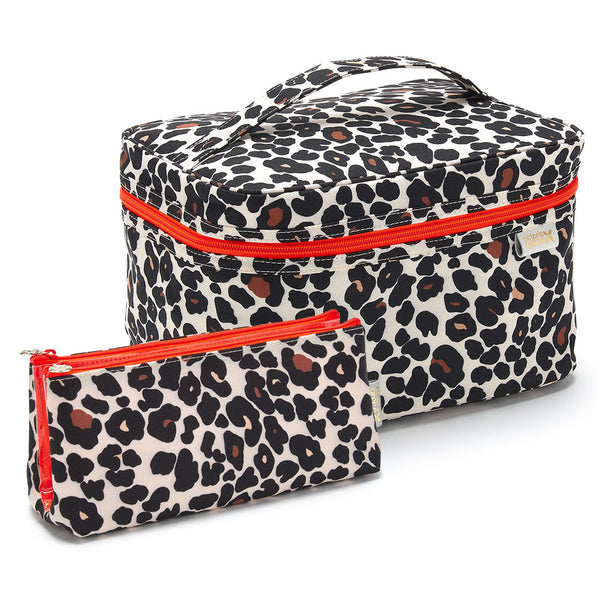 'Edie' Vanity Case + 'Lauren' Folding Makeup Bag Gift Set in Leopard Tan