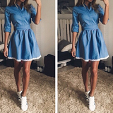 FASHION DENIM LACE DRESS