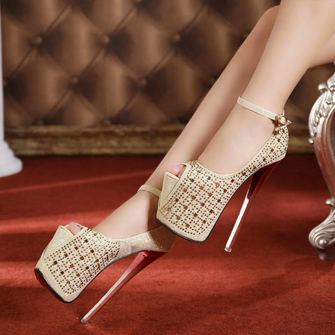 Fashion beaded waterproof platform heels