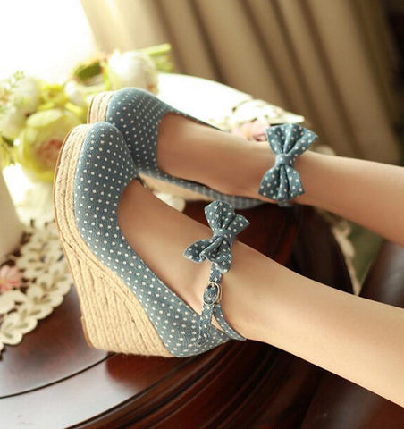 Fashion bowknot dot high heels