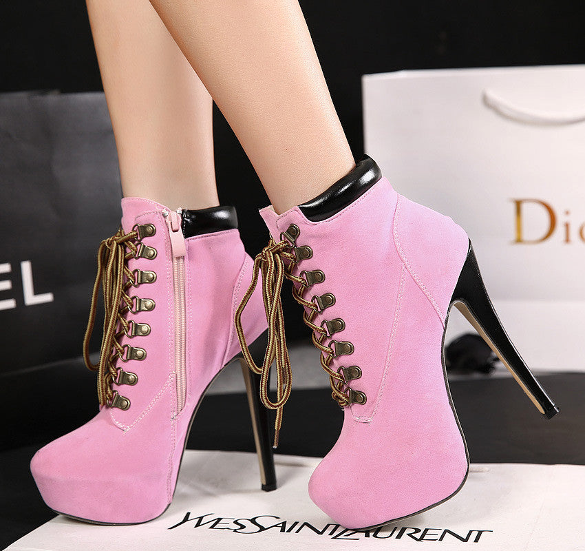 Fashion solid color zipper waterproof heels