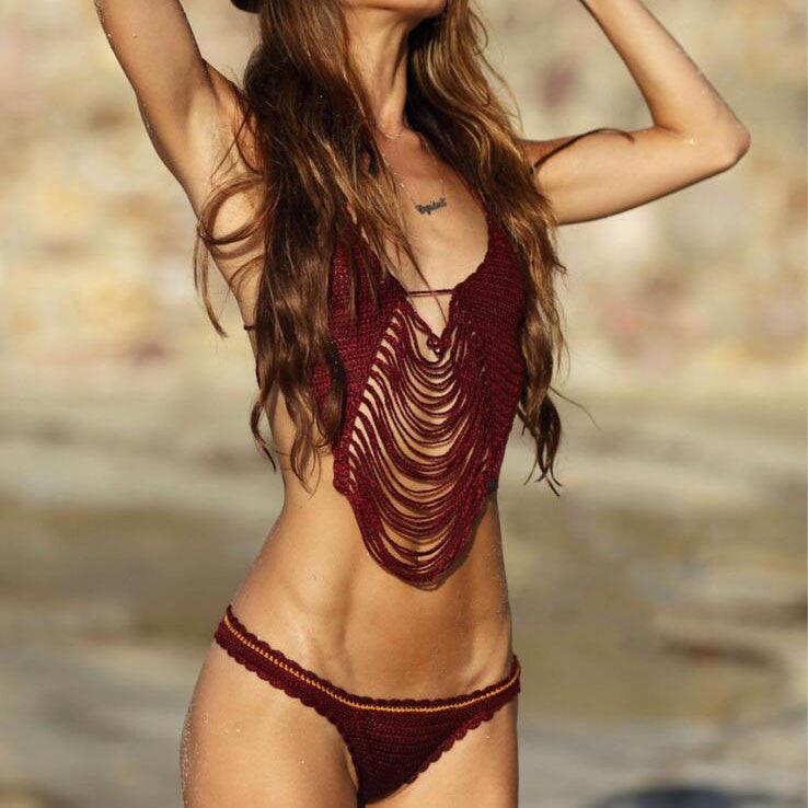 Braided hollow out tassel bikini