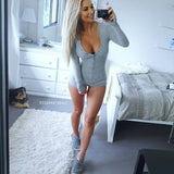 Long Sleeve deep V-neck Rompers Jumpsuits