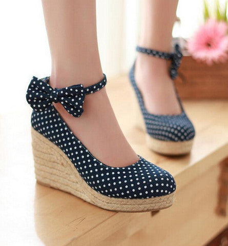 bowknot wave dot waterproof platform heels