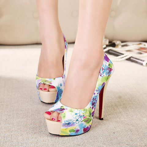 Printed fashion fish mouth high-heeled shoes