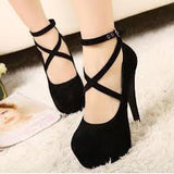 Fashion Buckle Cross High Heels Shoes