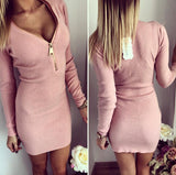 V-neck zipper tight dress