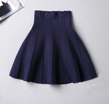 Fashion solid color knit high waist skirt