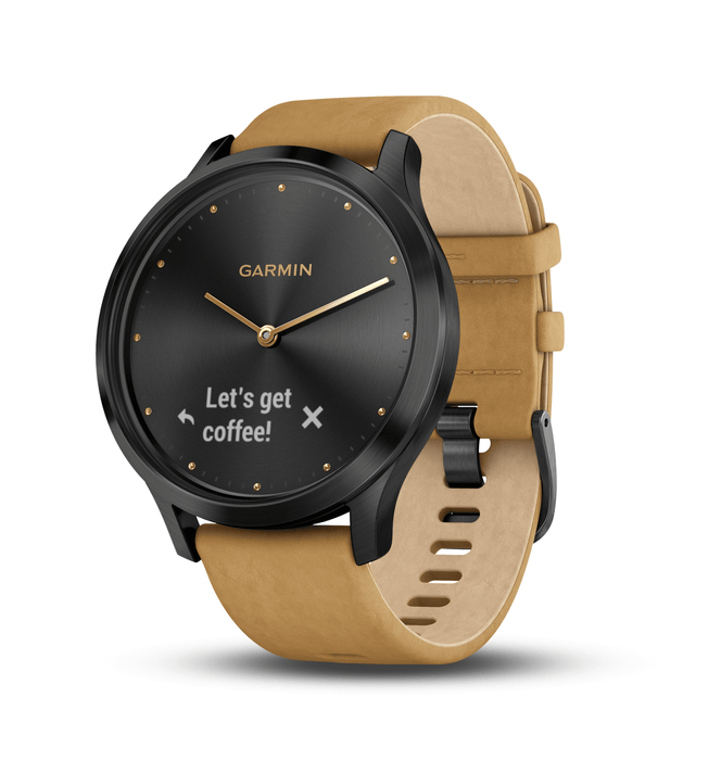 "Garmin Activity Monitors Premium Onyx Black Case with Tan Suede Band / One Size Fits Most (5""-8"") Garmin Vivomove HR Hybrid Smart Watch"