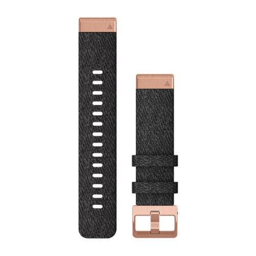 Garmin Garmin Accessories Heathered Black Nylon & Rose Gold Garmin QuickFit 20 Watch Bands for Garmin Fenix 6s