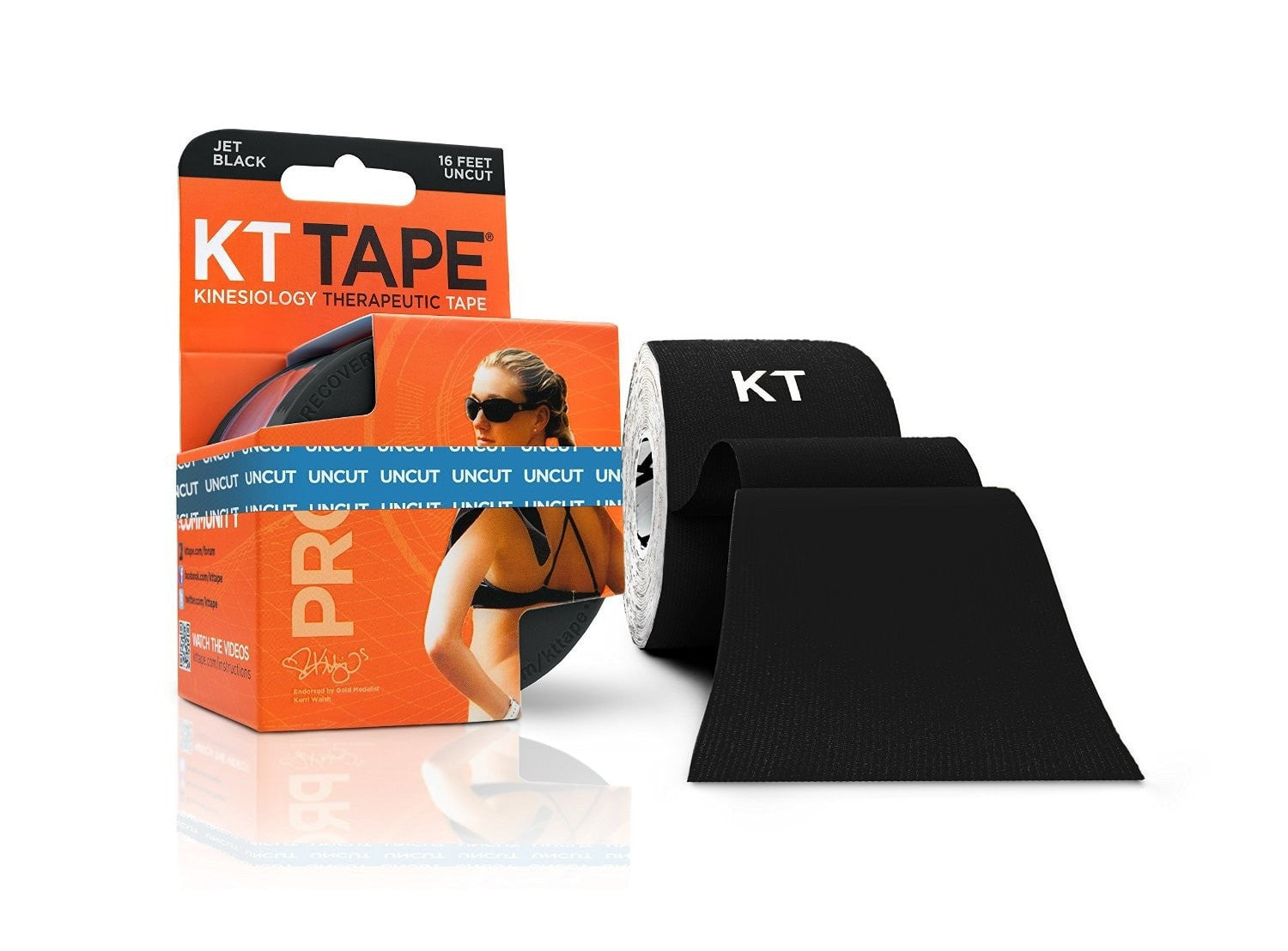 KT Tape Sports Therapy Black KT Tape Pro Synthetic 16 Feet Uncut