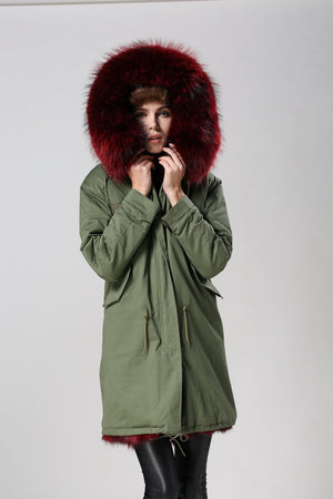 Green Parka with burgundy Red Fox Fur Lining - Short